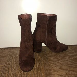 Maroon/brown booties
